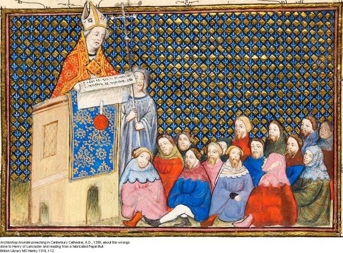 Archbishop Arundel preaching in Canterbury cathedral 1399.jpg